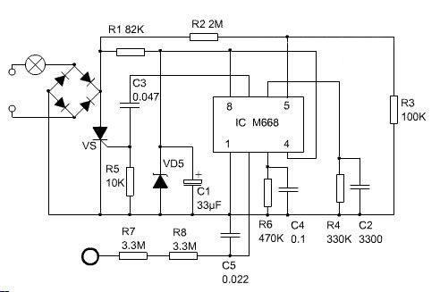 触摸感应灯工作电路图